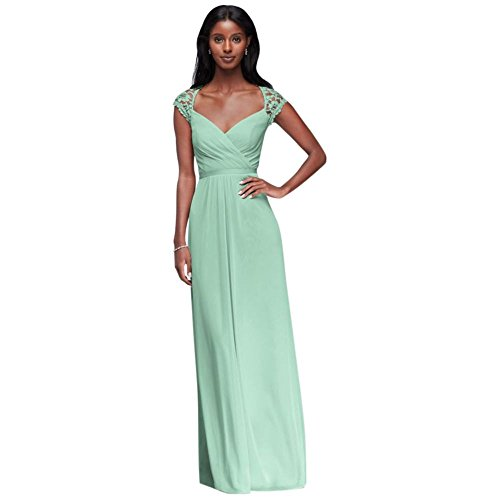 Long Mesh Bridesmaid Dress with Lace Cap Sleeves Style F19505, Mint, 16]()