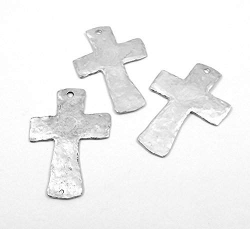 - Three (3) Silver Tone Pewter Large Hammered Cross Pendants 5014