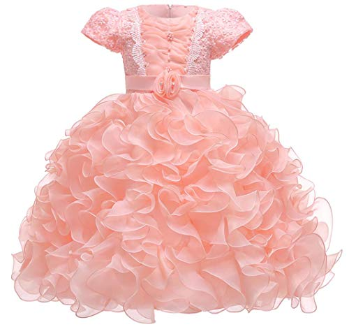 Jup'Elle Girl Dress Kids Ruffle Pageant Wedding Party Flower-Girl 3-4 Years Pink Dresses ()