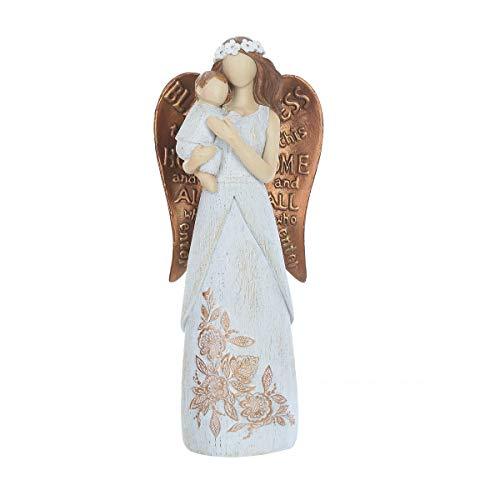 "Topadorn Garden Statuary Outdoor Loving Angel with Baby Resin Figurines,Collectible Sculptures,10.5"" H"