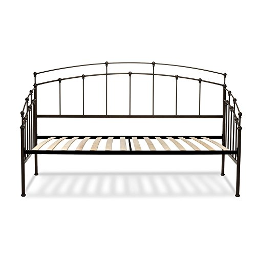- Fenton Complete Metal Daybed with Spindle Panels and Euro Top Deck, Black Walnut Finish, Twin