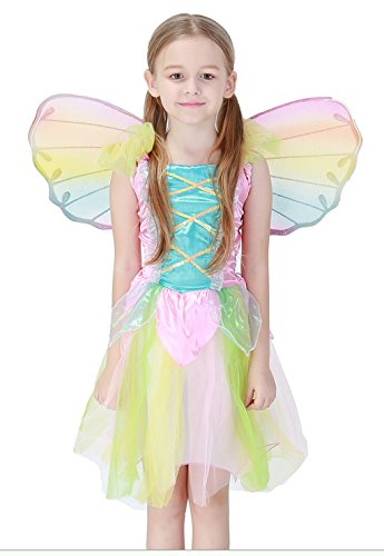 COSAUG Pink Butterfly Fairytale Costume Dress with Matching Wings for Girls (M) ()