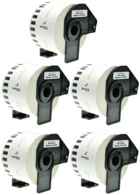 Logic-Seek 5X Endlos-Etikett kompatibel für Brother DK22223 50mm x 30,48m P-Touch QL-1050 1060N 500 550 560 570 580 700 500 A BS BW 560 VP YX 580N 650TD 710W 720NW