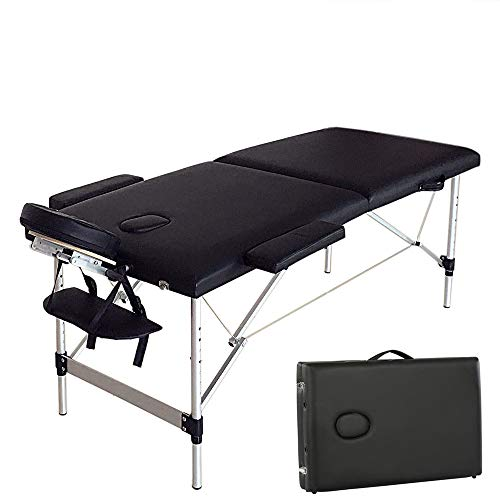 Bazhshxu Portable Massage Bed 2 Folding Professional Massage Table Aluminum Alloy Height Adjustable Facial Salon Tattoo Bed Beauty Spa Bed – Black