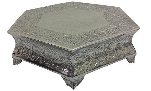 "GiftBay Wedding Cake Stand Hexagonal Shape, Each Side 16"", Silver"