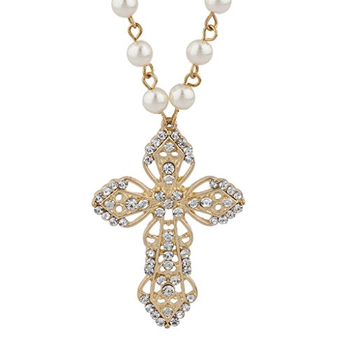 (Lux Accessories Goldtone Faux Ivory Pearl Crystal Rosary Style Pendant Necklace)
