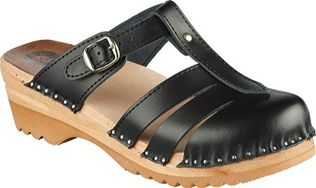 Troentorp Dames Båstad Mary Jane Leather Clog Black