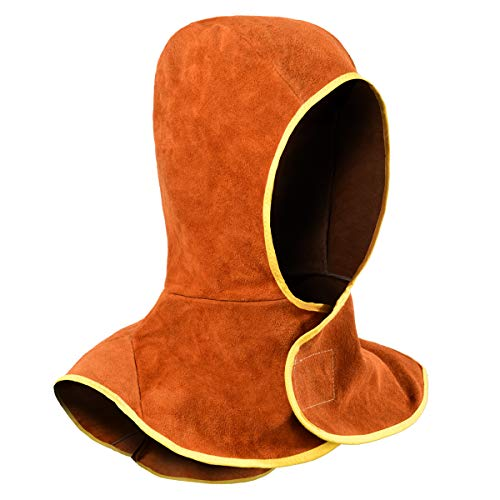 Welding Hood - Cowhide Split Leather Welding Caps with Neck Shoulder Drape - Head Protection for Men & Women, Brown