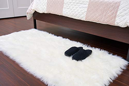 (JTL Floorings Soft White Faux Sheepskin Rug for Bedside | Luxurious White Shag Rug Runner for Bedroom Large (2.3 feet x 5 feet) | Fluffy, Durable, and Washable White Fur Rug)