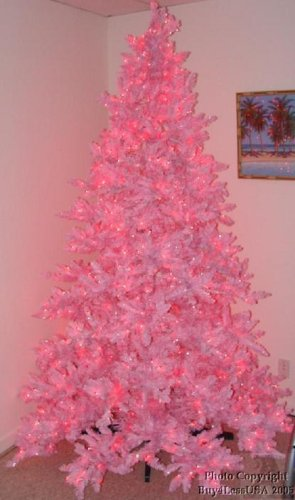 Pretty Pink Color 7' Foot Artificial Christmas Tree Lighted