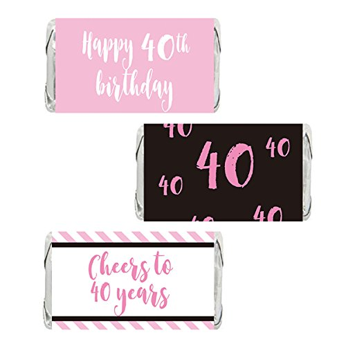 (Pink 40th Birthday Miniatures Candy Bar Wrapper Stickers, Party Favor Labels, 54 Count)