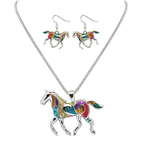 Charms Enamel Rainbow Horse Pendant Necklace with Dangle Earrings Jewelry Sets (Silver)