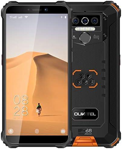 4G Teléfono Móvil Resistente 2020 OUKITEL WP5, Batería de 8000 mAh, Smartphone Impermeable IP6, 4 Luces de Flash LED, MTK6761 3GB + 32GB, 13MP + 2MP + 2MP, Android 9.0, Reconocimiento Facial Naranja