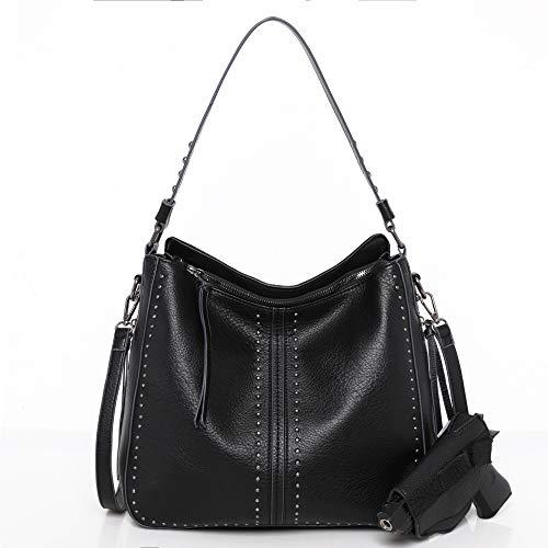 Montana West Shoulder Bag Concealed Carry Purses For Women Pistol Crossbody Handbag Leather Tote Gun Pocket Black CW-MWC-1001