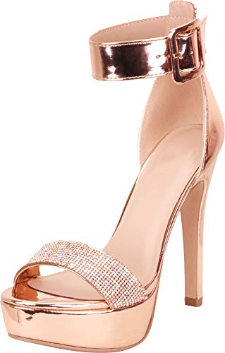 Cambridge Select Women's Open Toe Ankle Strap Crystal Rhinestone Chunky Platform High Heel Dress Sandal,10 B(M) US,Rose Gold Patent PU