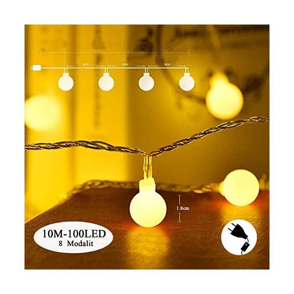 BANCELI-Catena Luminosa Solare - 100LED 10M Luci Decorative Stringa Solari Impermeabile Illuminazione per Natale Luce Solare a Sfera di Cristallo per Giardino, Patio, Alberi (Bianco Caldo) 5 spesavip