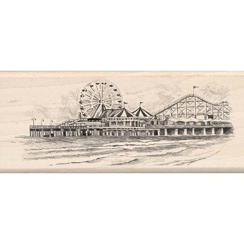 SEASIDE AMUSEMENT PIER WOOD MOUNTED RUBBER STAMP by Inkadinkado