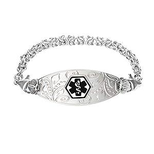 Divoti Deep Custom Laser Engraved Lovely Filigree Medical Alert Bracelet -Stainless Handmade Byzantine -Black