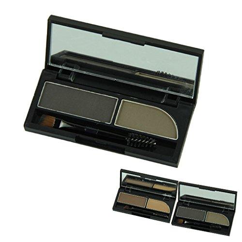 Voberry® тема Горячая продажа Мода Professional Make Up Tool Водонепроницаемый 2 двойной цвет бровей Shadow Порошковая Enhancer Палитра с Brusher (2)