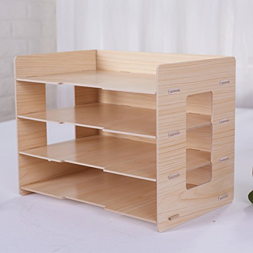 ZAIYI Bookcase By Vertical Document Holder Wooden Office File Holder Creative Desktop Data Holder,WoodColor by ZAIYI