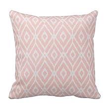 Chic Pastel Blush Pink Ikat Tribal Diamond Pattern Throw Pillow Case Cushion Cover