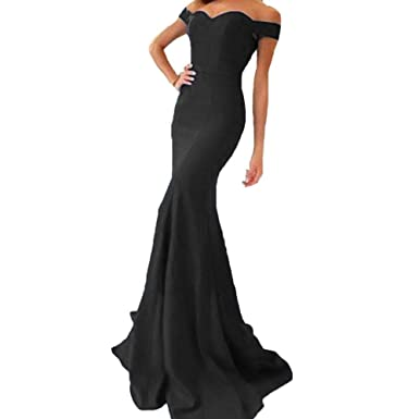 Liaoye Off Shoulder Long Prom Dresses Mermaid Dresses Evening Party Gowns for Women Black 2