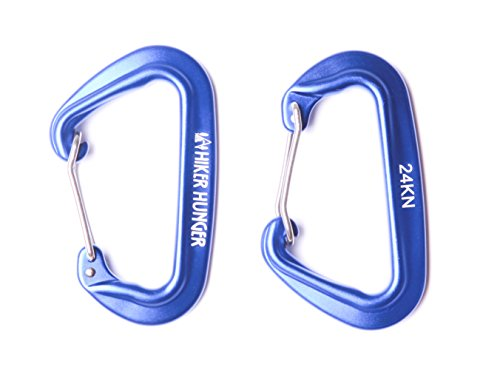 Hiker Hunger 24 kN Wiregate Carabiners Rated 5,395+ lbs (Set of 2) - The Strongest Mini Aluminum Ultra Lightweight Biners - Best for Hammock Suspension, Camping Accessories, Keychains, More! (Blue)