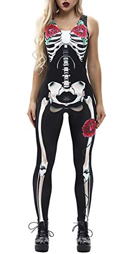 TUONROAD Graphic Printed Halloween Onesies Outfits Black White Bones Green Leaves Red Flowers Sleeveless Zip Up Skeleton Leotard Costume Jumpsuit Dark Fancy Full Bodysuits for Cosplay Party