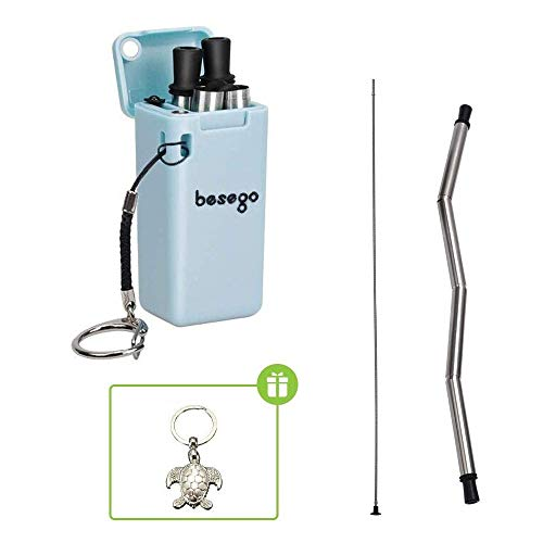 Recycled Lanyard - Besego Reusable Collapsible Straws,Stainless Steel Foldable Drinking Straws,Portable Food-Grade Straw with Cleaning Brush&Sea turtle Keychain,Eco-Friendly Silicone Straws for Travel and Home(blue))