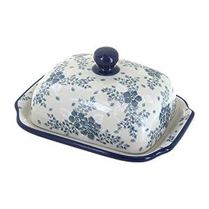 Blue Rose Polish Pottery Blue Fleur Butter Dish