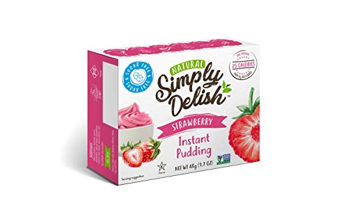Strawberry Pudding - Simply Delish Natural Instant Strawberry Pudding - Sugar Free, Non GMO, Gluten Free, Fat Free, Lactose Free, 1.7 OZ (Pack of 6)