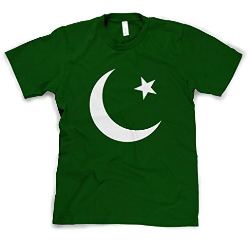 Pakistan Country Seal Flag Forest Green Cotton Adult Unisex T Shirt Tee Top L