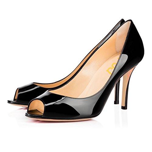 2 Peep Toe Pump - FSJ Women Flattering Peep Toe Formal Dress Shoes Glossy Patent High Heels Pumps Size 5 Black