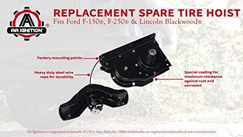 JSD 924-526 Spare Tire Hoist for Ford F-150 Spare Tire Winch for F-250 Spare Tire Winch for Lincoln Blackwood Spare Tire Hoist 2L3Z1A131AA