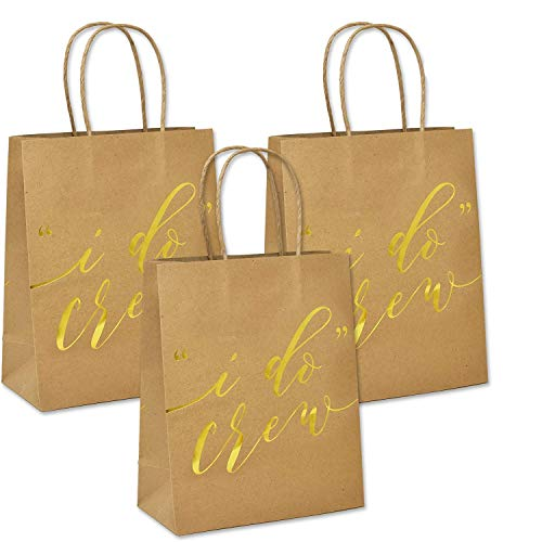 12 I Do Crew Kraft Paper Gift Bags for Wedding Bridesmaid Bridal Shower Bachelorette Party