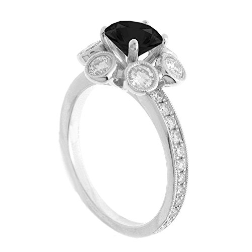 (14K White Gold 7/8ct TDW Floral Diamond Engagement Ring With 3/4ct Black Onyx Round Center (G, SI1-VS2))