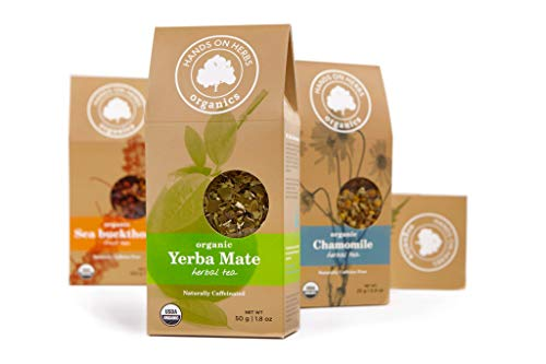 Hands on Herbs Organics Yerba Mate Organic Loose Leaf Tea | Focus and Energy Without the Jitters of Coffee | Metabolism Booster | Potent in Antioxidants and Amino Acids 1.8 ounces | 50 grams -