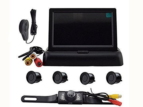 Elife Hot Sell Popular Weatherproof 4 Parking Sensors Car Backup Reverse Radar Kit Voice Alert Radar Detectors +4.3 Inch Color LCD TFT Car Rear View Monitor+ LED Reversing Color Video Camera Kits