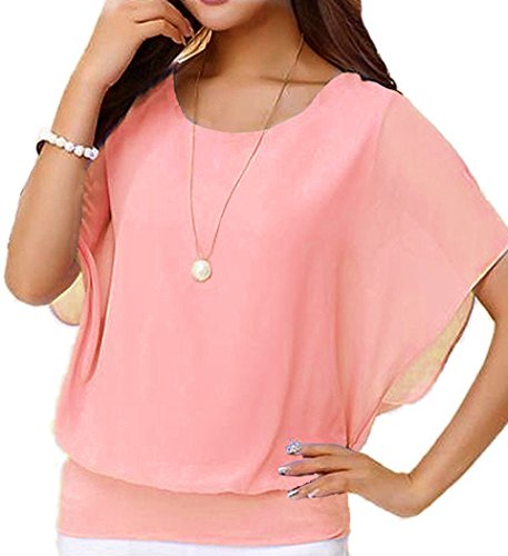 NEINEIWU Women's Loose Casual Short Sleeve Chiffon Top T-Shirt Blouse (S, 07 Light Pink) (07 Womens T-shirt)