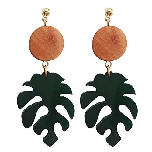 Wood Palm Earrings (UINKE Vintage Boho Wooden Palm Leaf Dangle Pierced Earrings Fishbone Earrings Valentines Day Jewelry for Women Girls)