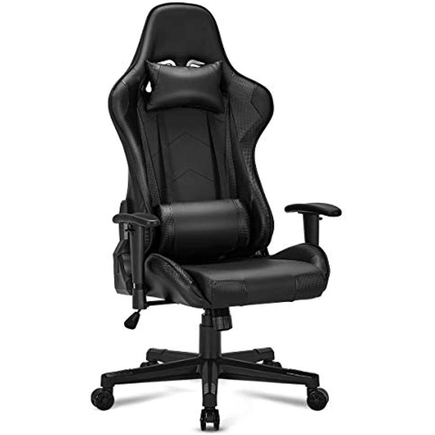 YOLENY Gaming Chair Computer Game Chair Office Chair Ergonomic High Back PC Desk Chair Height Adjustment Swivel Rocker with Headrest and Lumbar Support Lumbar Pillow,Black