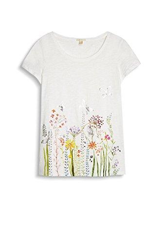 ESPRIT 047ee1k030, Camiseta para Mujer Blanco (Off White)