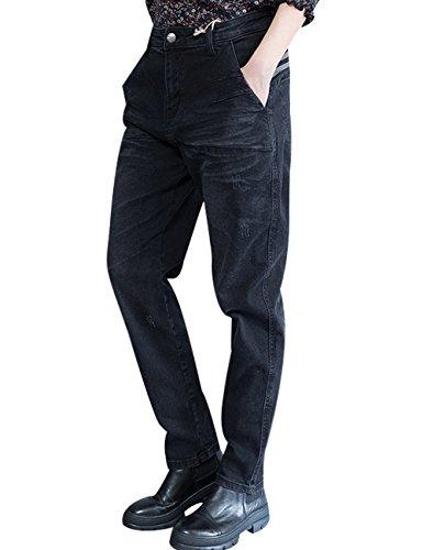 Youlee Mujeres Nuevo Primavera Verano Algodón Medio Pantalones Negro