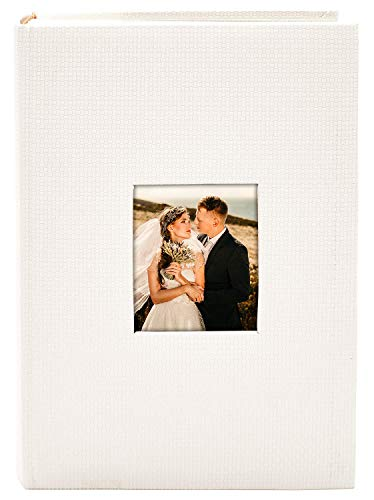Golden State Art, Wedding Family Baby Holiday Photo Album Christmas, Vacation, Anniversary Photography Book for 300 4x6 Pictures Pockets with Memo, 3 Per Page Large Capacity White Embossed Cover (Wedding 300 Albums)
