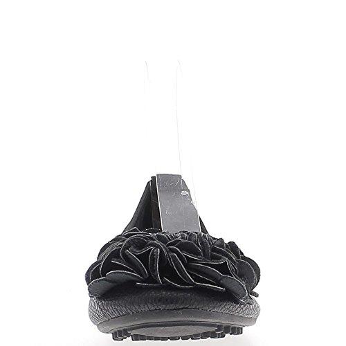 Plegable cuero brillante con pisos de aspecto negro decorativo nudo