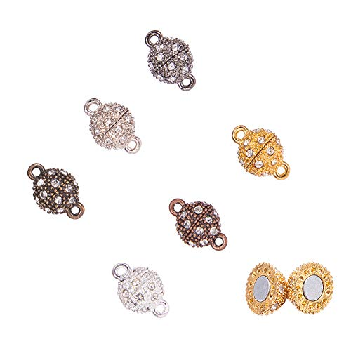 PH PandaHall 24 Sets 6 Color Rhinestone Ball Magnetic Beads Clasp Buckle for Bracelet Necklace -