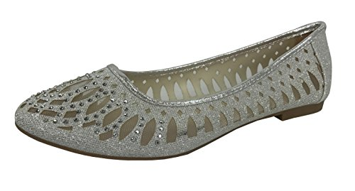 Coverered Crystal Silver Slip Ballet On Rhinestone Glitter Crystal Flats Womens Shoes zvSExwaqx