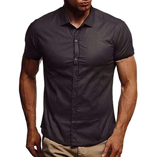 XQXCL Summer Tshirts Men Pure Color Button Tee Splicing Pattern Casual Turndown Collar Shirts Lapel Short Sleeve Shirt Black