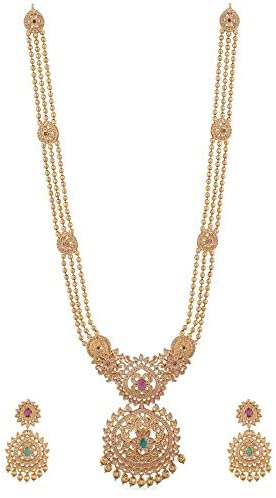 Tarinika Binal Gold-Plated Indian Jewelry SetLong Necklace and Earrings - White Red Green
