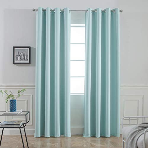 Yakamok Room Darkening Thermal Insulated Blackout Curtains for Living Room,Aqua Color,52 inch Wide by 96 inch Long Each Panel,Bonus 2 Tie Backs Included